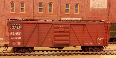 Sunshine Models St Louis-San Francisco Howe truss, single-sheathed box car.