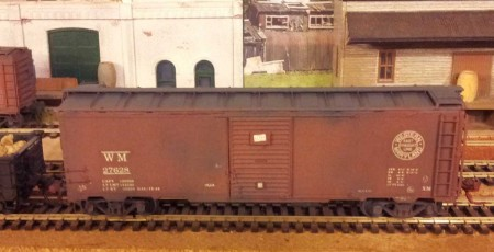 Sunshine Models Western Maryland 1932 ARA box car with Duryea cushion underframe.