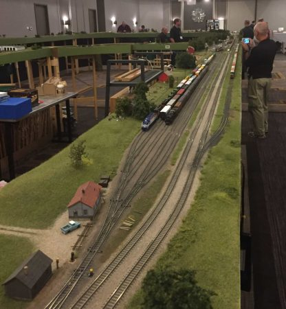 Part of the busy HO scale Mod-U-Trak layout.