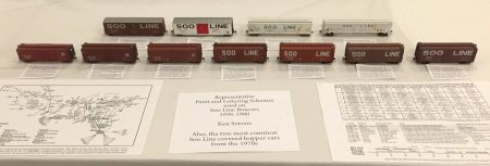 A string of HO scale Soo Line box cars illustrated paint and lettering schemes. Ken Soroos displayed the models and documentation.