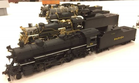 Ray Breyer displayed a number of projects, including these upgraded locos reflecting Nickel Plate Road prototypes.