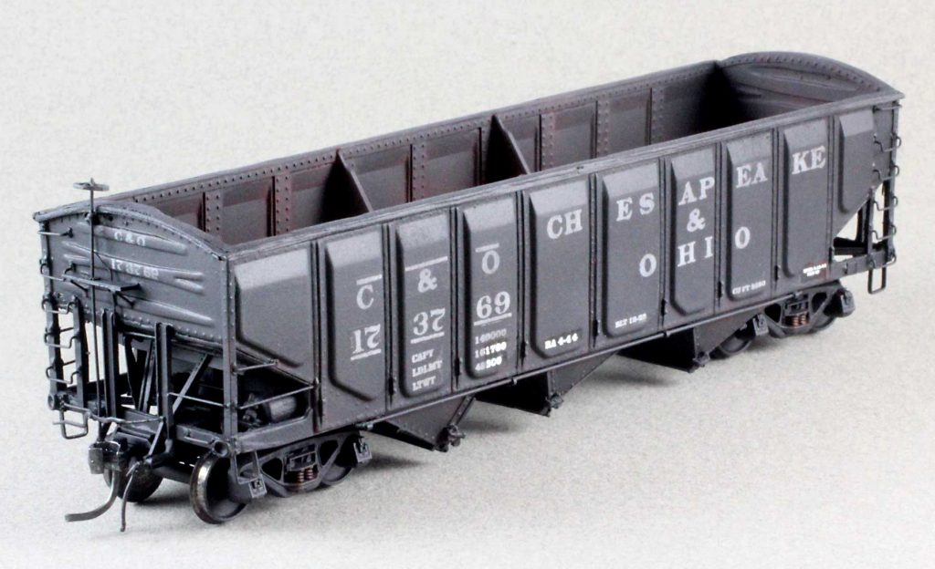 Completed HO scale C&O coal hopper model