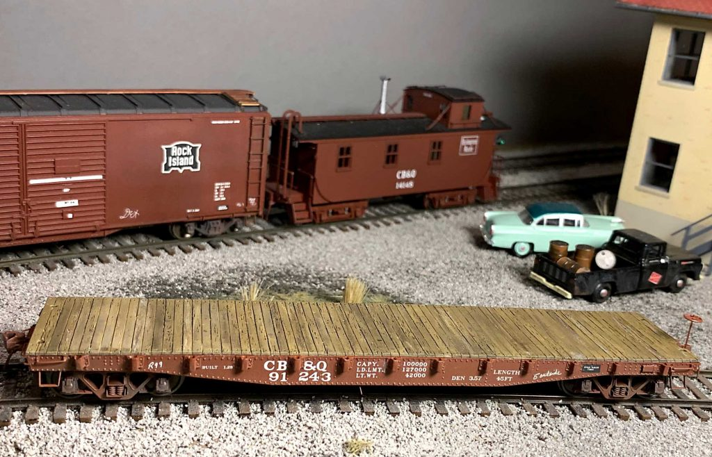 George Toman's CB&Q flat car model